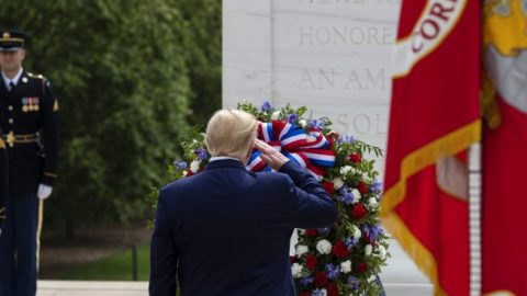 President Trump attends Arlington National Cemetery wreath laying ceremony on Memorial Day