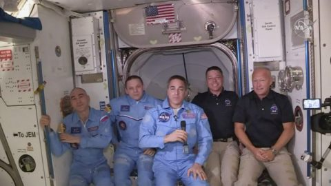 Astronauts speak from ISS after Crew Dragon launch