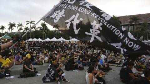 Taiwan citizens gather in capital to protest China's treatment of Hong Kong