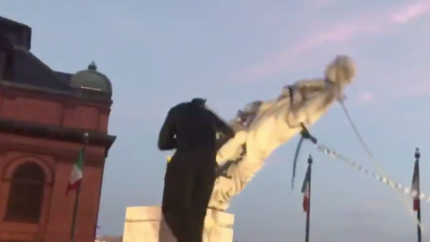 Baltimore Protesters Topple Christopher Columbus Statue, Throw It Into The Harbor