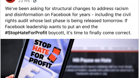 Leftist Group Calling For Facebook Boycott Is Still Running Ads On Facebook